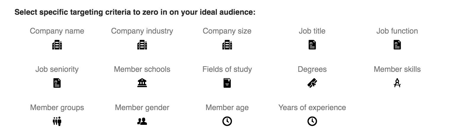 LinkedIn Ads targeting options.