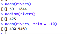 how to trim the mean in R.