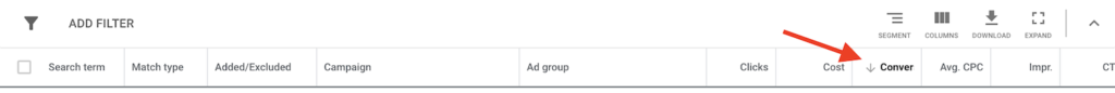 Ordering by the number of conversions in the Google Ads report.