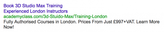An example of an ad highly specific to chosen keyword.