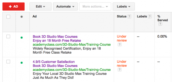 What ad testing looks like inside a Google Ads account.