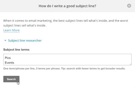 mailchimp subject research tool step 1