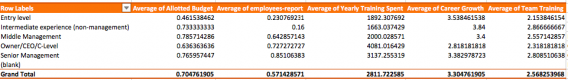 Screenshot of a pivot table with our research data.
