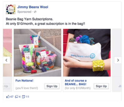 Jimmy beans Wool Facebook Ad