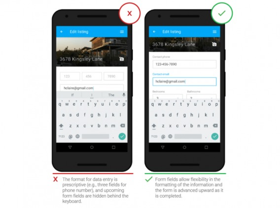 example of mobile form with field focus.