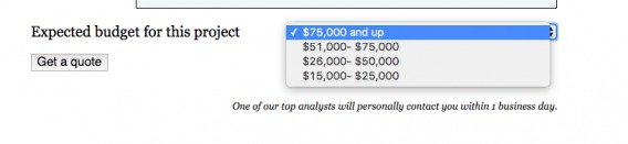 example of tiered pricing to weed out low-quality leads in form submissions.
