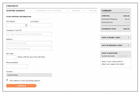 example of checkout form.
