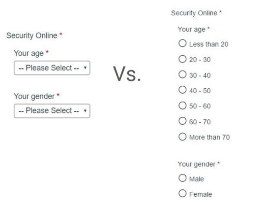 example of multi-select vs. radio buttons on a form.