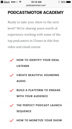PodcastMotor academy.