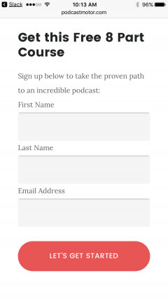 PodcastMotor academy signup form.