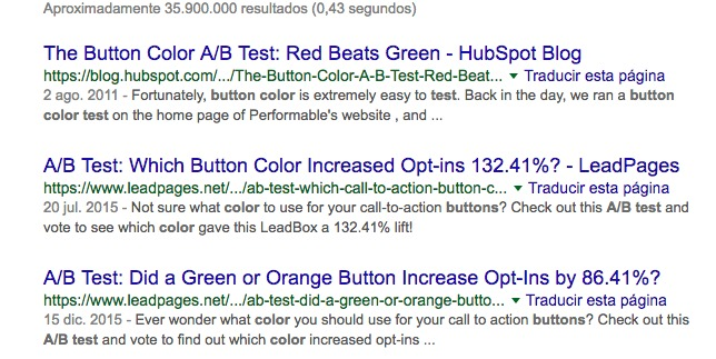 example of serp with case studies showing the impact of a change to calls to action.