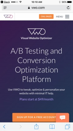 VWO homepage with phone number.