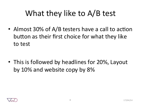 test results showing that the call to action was the most popular test.