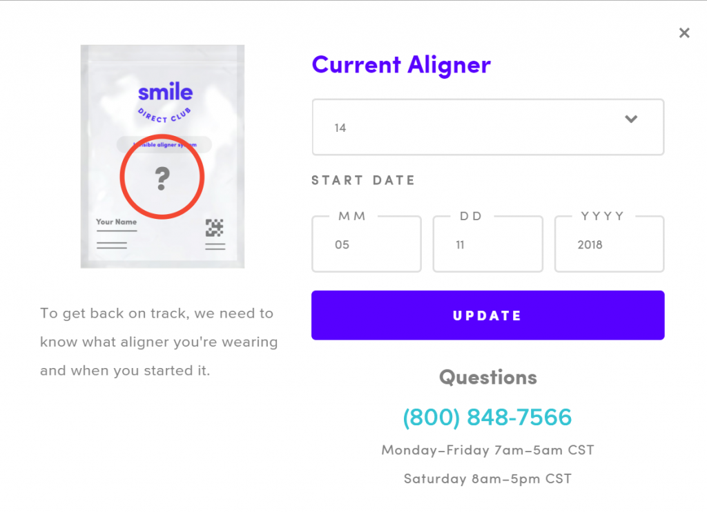 85a60f3e3433 This lets the customer course-correct the automation on their own. With a  new start date for an aligner set