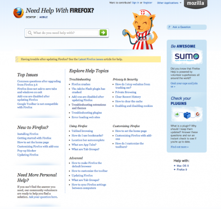 mozilla old support page