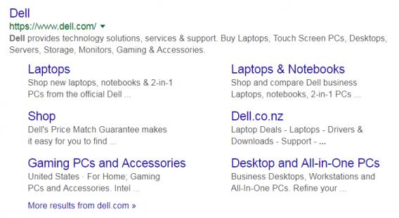 dell sitelinks google