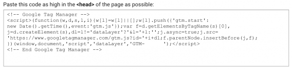 gtm container code