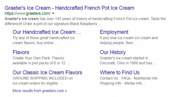 graeters ice cream sitelinks google