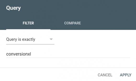 gsc query filter
