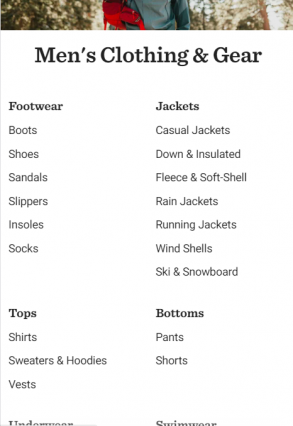 rei mens clothing mobile page
