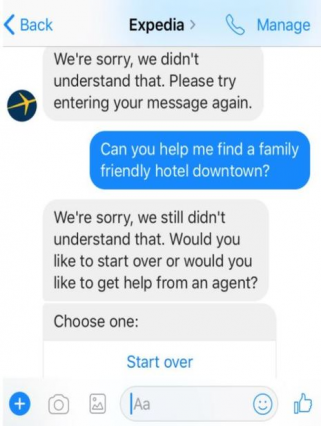 expedia chatbot fail