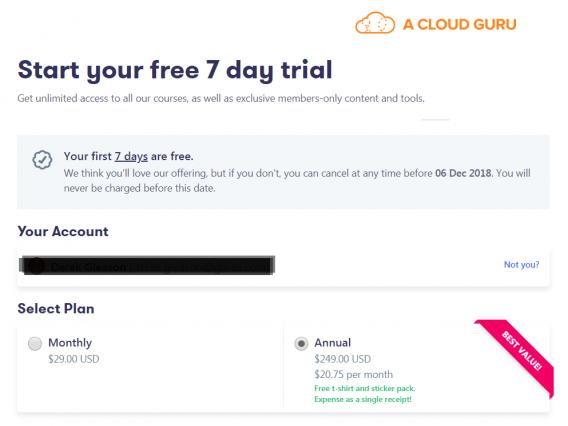 a cloud guru trial
