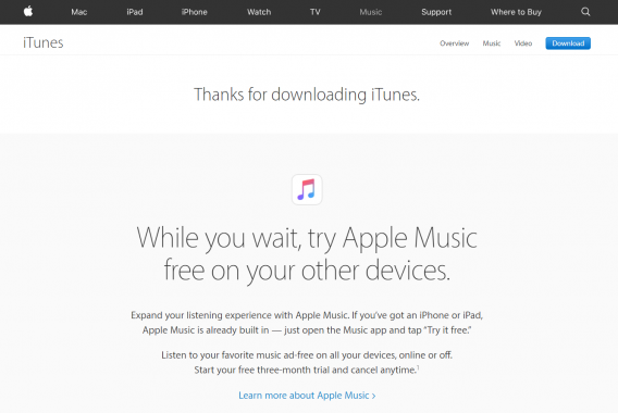 itunes download thank you page