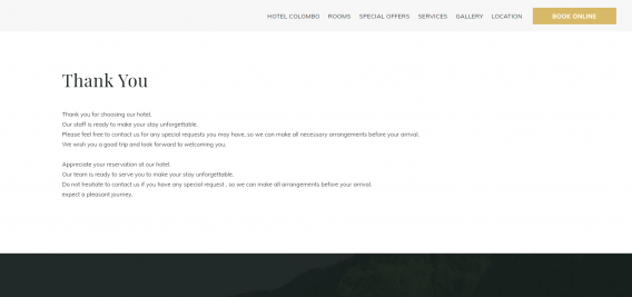 hotel confirmation page