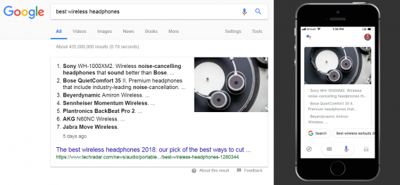 voice search with featured snippet