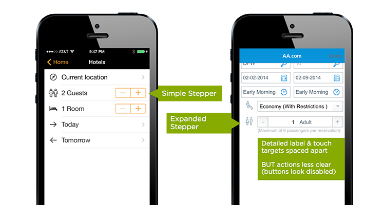 steppers on mobile form