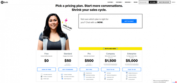drift pricing page