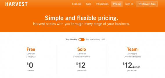 harvest pricing page