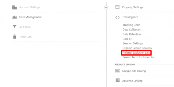referral exclusion list settings google analytics
