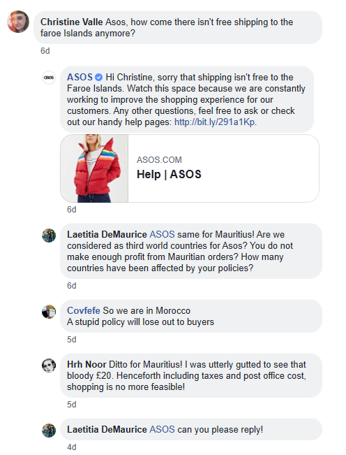 asos facebook comment feed