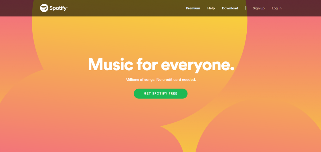 spotify homepage cta design