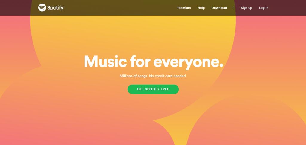 spotify homepage cta design