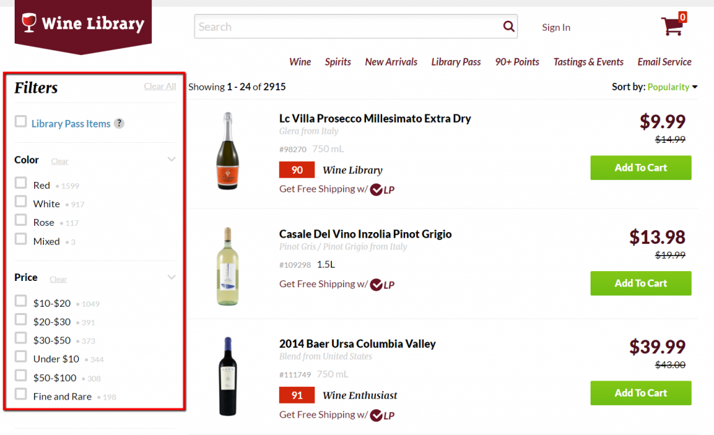 wine library use of product filters