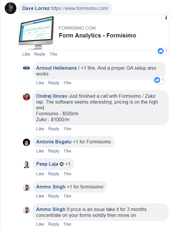 facebook form analytics discussion
