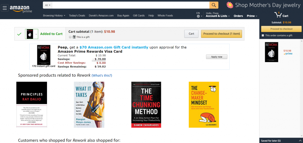 amazon upsell after add to cart