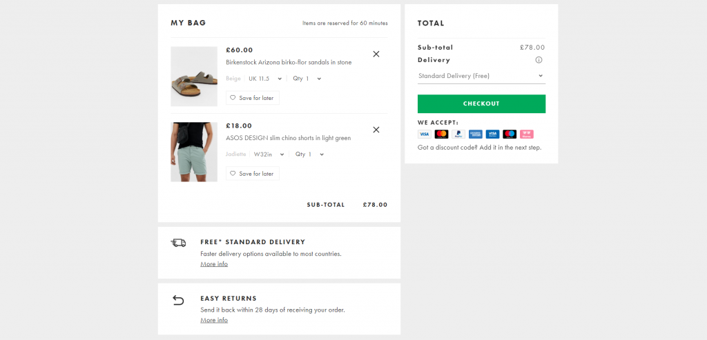 asos cart page prior to checkout