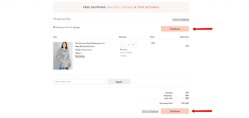 modcloth two checkout buttons