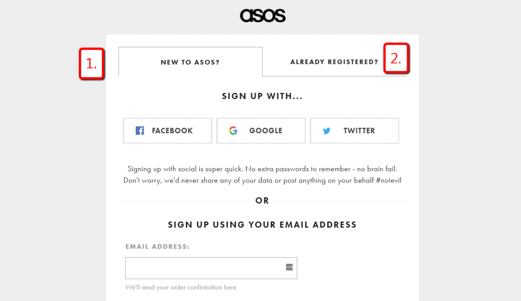 asos new or returning customers signup