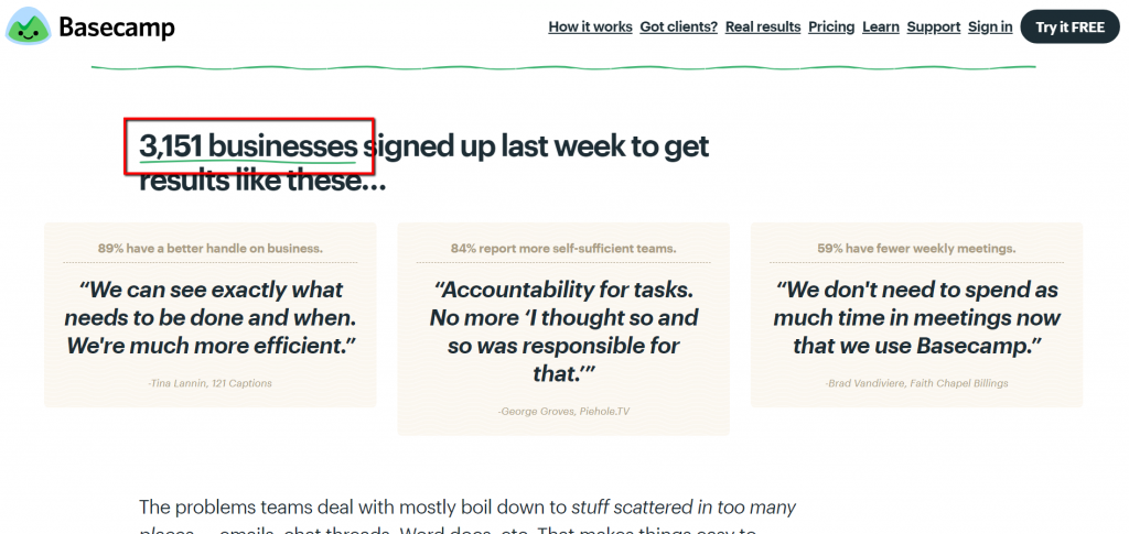basecamp adding social proof to homepage