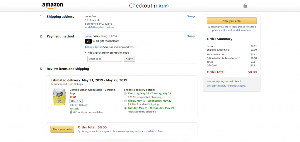 example of streamlined checkout page on amazon.