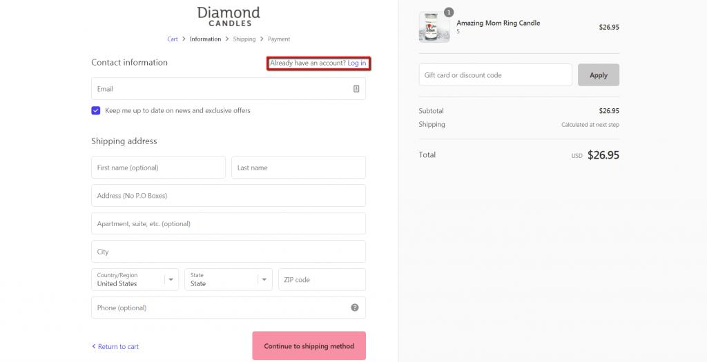 diamond candles guest checkout default