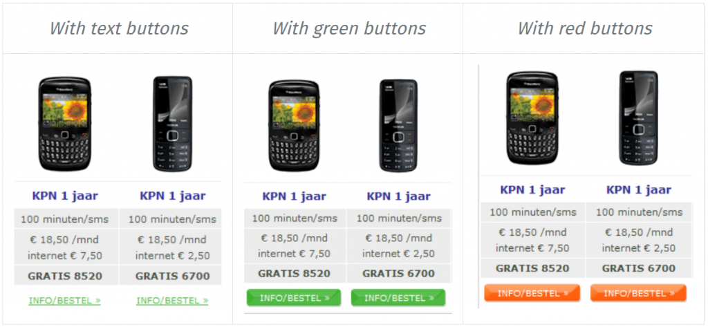 multiple color variants of cta buttons