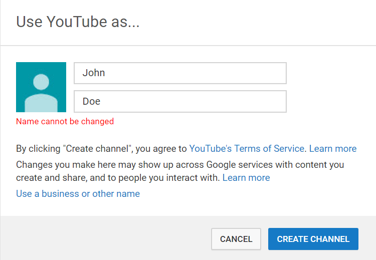 create youtube channel with name.