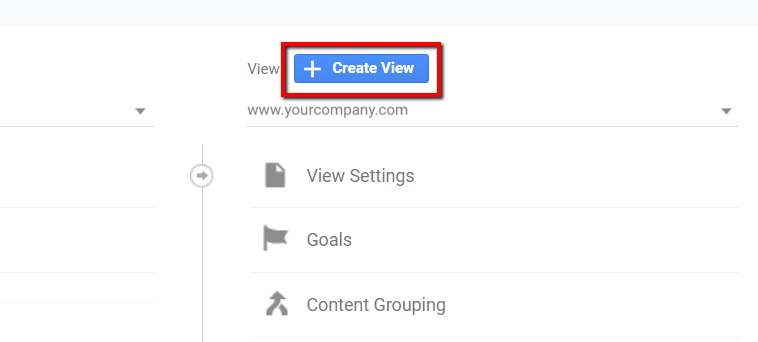 create new view button in google analytics.