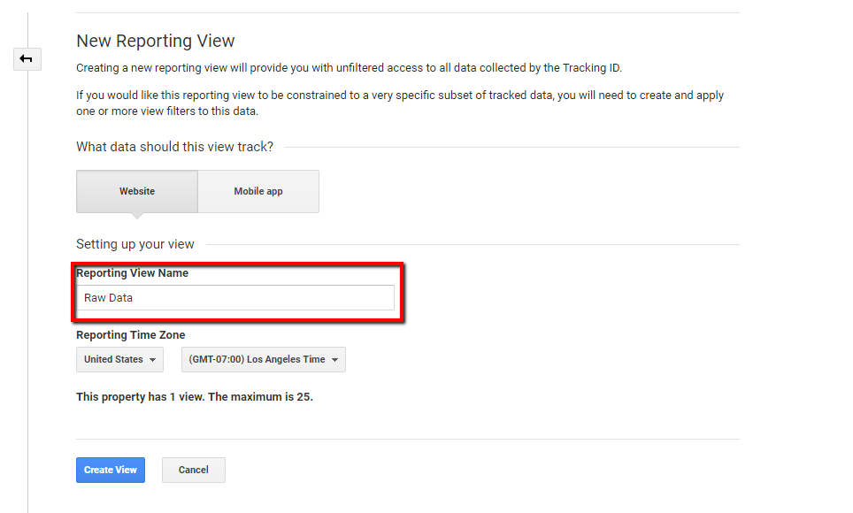 naming and creating a view in google analytics.