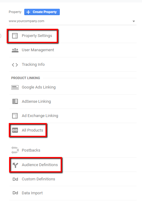 property settings in google analytics.
